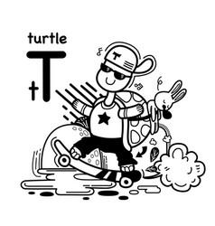Hand drawnalphabet letter t-turtle vector