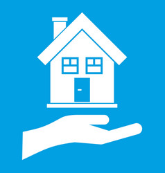 hand holding house icon white vector image