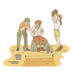 Happy male and female archaeologists researching vector