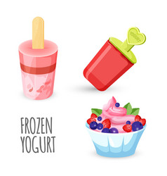 healthy eating delicious homemade frozen yogurt vector image