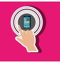 Human hand selecting smartphone menu vector