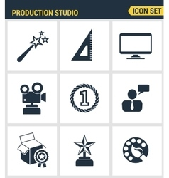 Icons set premium quality of content production vector image