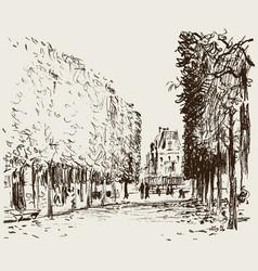 In garden tuileries vector