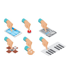 Isometric hand indicates gesture set vector