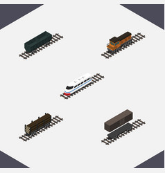 Isometric railway set of carbon railway container vector