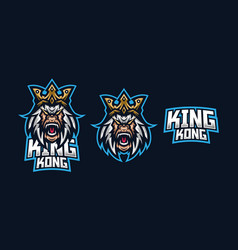 Kingkong esport gaming mascot logo template for vector