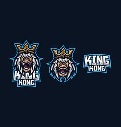 kingkong esport gaming mascot logo template vector image