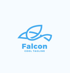 Line style falcon symbol abstract icon vector
