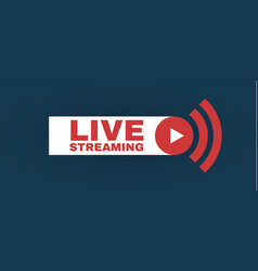 live streaming logo with play button online vector image