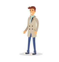 Man in beige coat with smile on face isolated vector