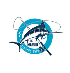 Marlin fishing sport emblem with fish on rod vector