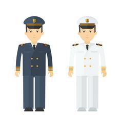 Military naval officer in full dress flat vector