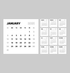 Monthly calendar for 2021 year week starts vector