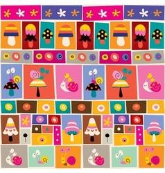 Mushrooms snails pattern vector