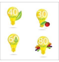 Nature eco gold bulb symbols set vector