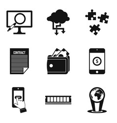 Online data icons set simple style vector