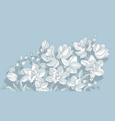 orchid flower design element in dust blue color vector image