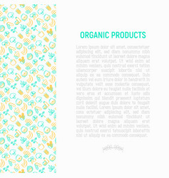 organic products concept with thin line icons set vector image
