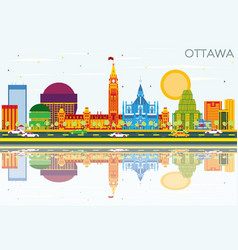 ottawa skyline with color buildings blue sky and vector image
