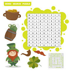 Patricks day holiday themed word search puzzle vector