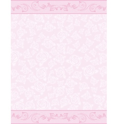 Pink background with decorative roses vector