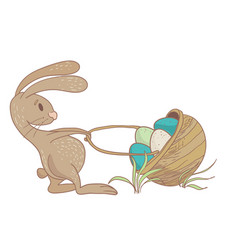rabbit with basket vector image