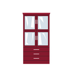 Red closet with glass doors and drawers vector