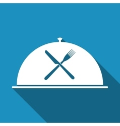 Restaurant icon with cloche and crossed fork and vector image