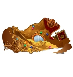 Royal treasures and jewels buried in sand vector