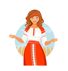 Russian costume girl vector