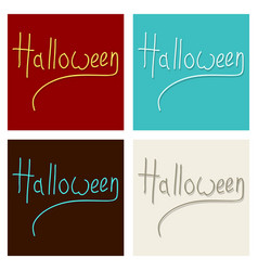Set of happy halloween lettering holiday vector