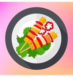 Shashlik kebab barbecue flat icon vector image