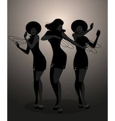 Silhouettes of three dancer and soul singer vector