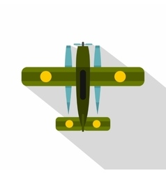 Ski equipped airplane icon flat style vector image