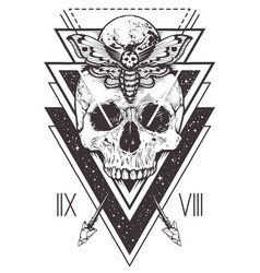 skull sacred geometry design vector image