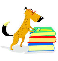 Smart dog with glasses reading books vector
