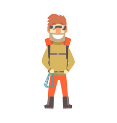 Smiling climber man in sunglasses with equipment vector
