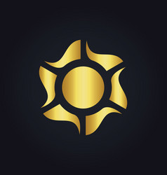 Solar sun color energy gold logo vector