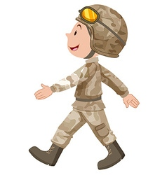 Soldier in brown uniform walking vector
