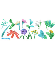 Spring grass and flowers cartoon 3d icon set vector