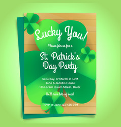 St patricks day invitation with shamrock vector