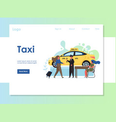 Taxi website landing page design template vector