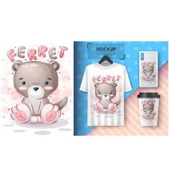 Teddy ferret- poster and merchandising vector