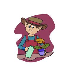 teenager watering a plants cartoon vector image