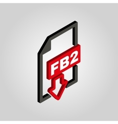 The FB2 icon 3D isometric file format symbol vector