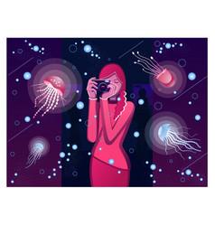 the girl in the oceanarium photographs jellyfish vector image