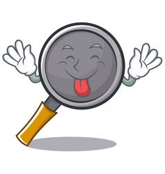 Tongue out frying pan cartoon character vector