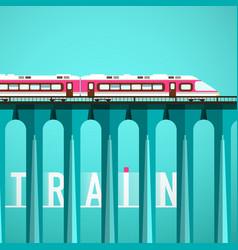 Train on high bridge railway flat design vector