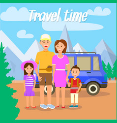travel time parents traveling together with kids vector image