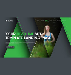 Universal banner template for the landing page of vector